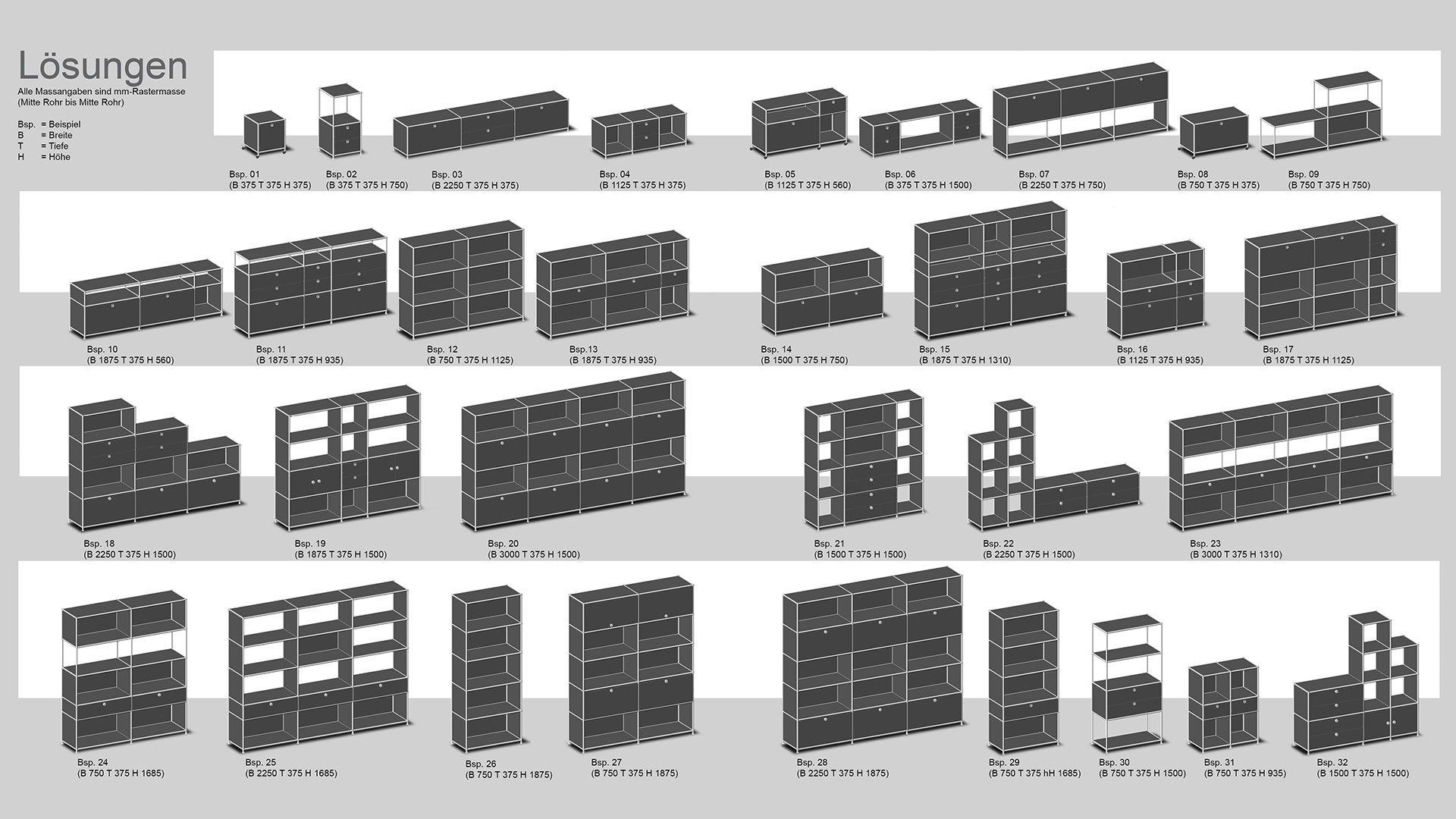Bueromoebel Metall Sideboard Lowboard Highboard mit Klapptüren und ...