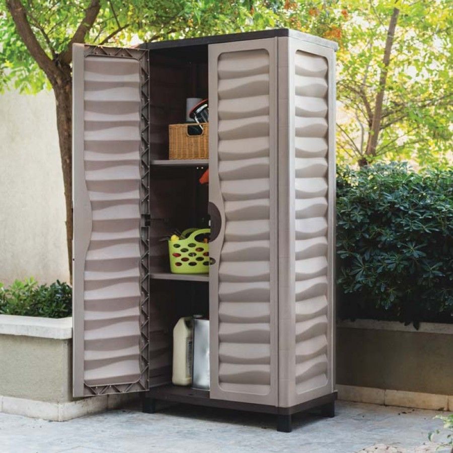 Elegant Astonishing Weatherproof Storage Cabinets Plastic With Brown Mocha Paint  Color And Two Tier Shelving Unit From Best Outdoor Cabinets