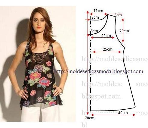 5badbea084 O desenho do molde de blusa floral feminina não tem valor de costura tem  que ser acrescentado. Apenas os moldes que são para imprimir têm valor de  costura.