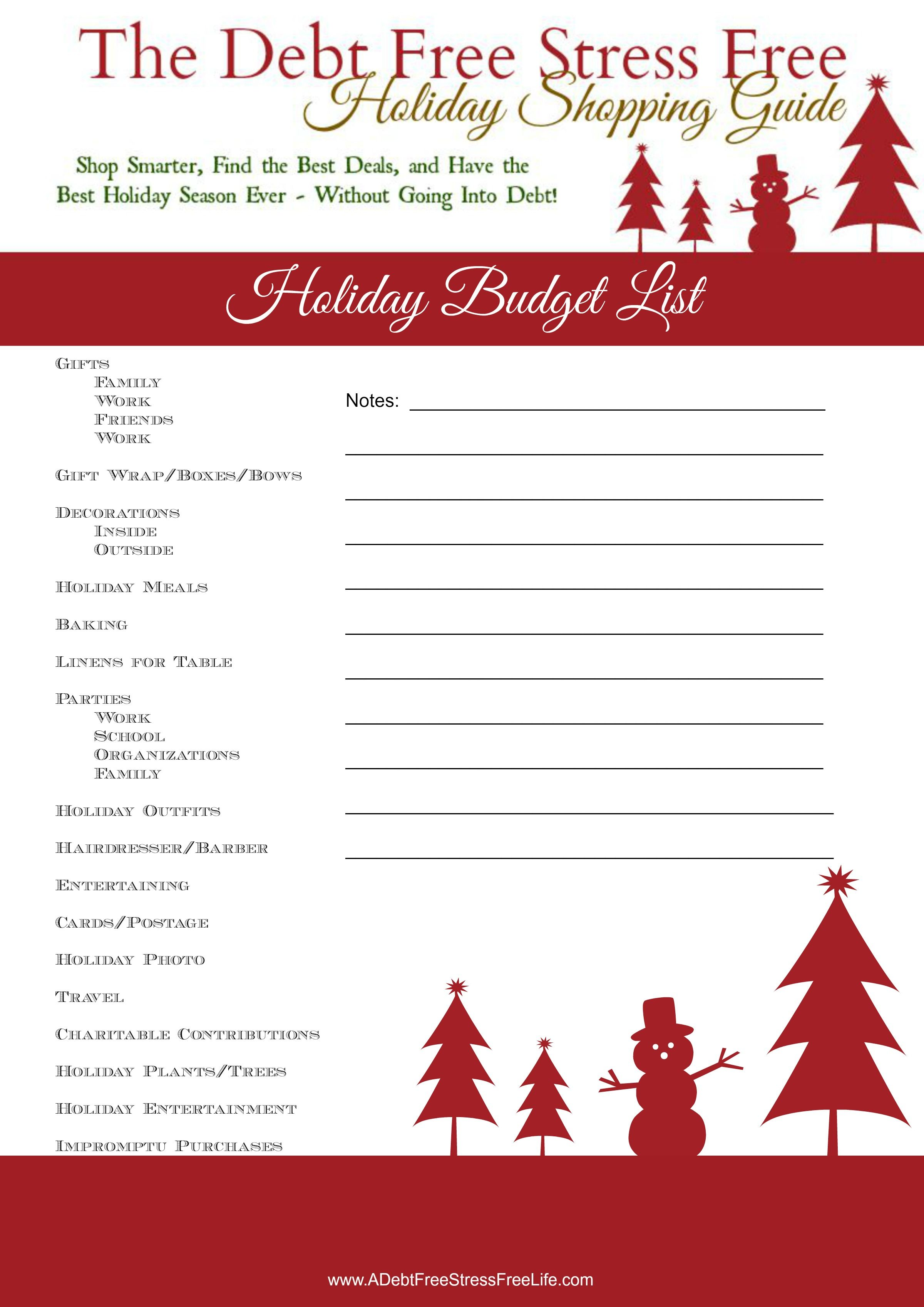 Holiday Budgeting Reminder List With Free Printable Budget Holidays Stress Free Holidays Holiday Help
