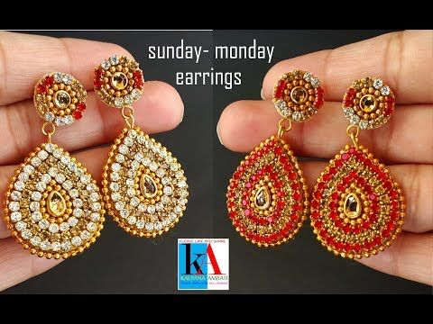 ae86b1ef5 making of Sunday Monday Earrings with pendent // 2 in 1 earrings simple and  easy at home - YouTube. How to make silk thread stud ...