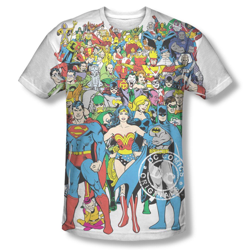 Dc comics original superheroes members sublimation all for Retro superhero t shirts