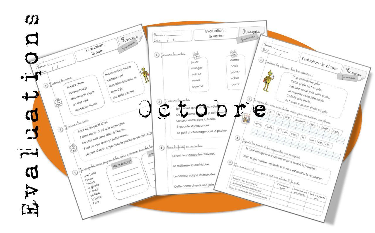 Evaluations d'octobre. CE1 - Bout de gomme | Exercice francais ce1, Ce1