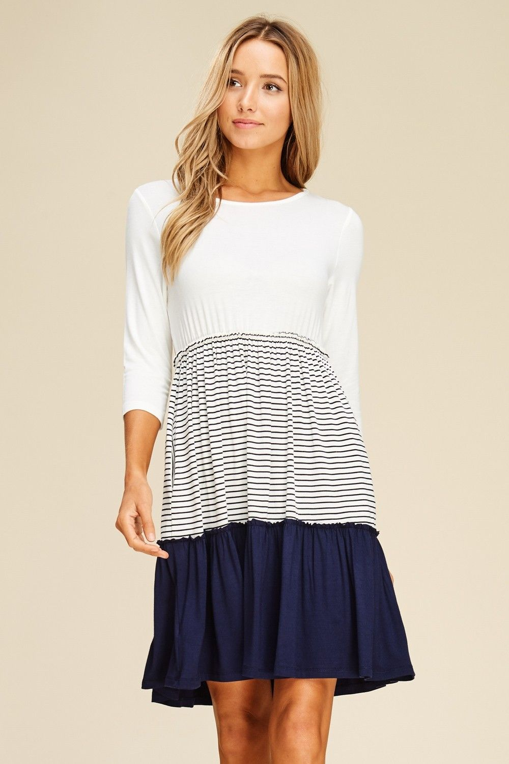 a8a41fac655 Stripe and Solid Contrast Midi Dress Style  D5392 Knit dress featuring  solid