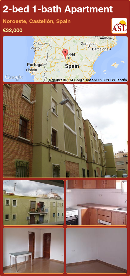 2 Bed 1 Bath Apartment In Noroeste Castellon Spain 32 000 Propertyforsaleinspain Noroeste Espana Zaragoza