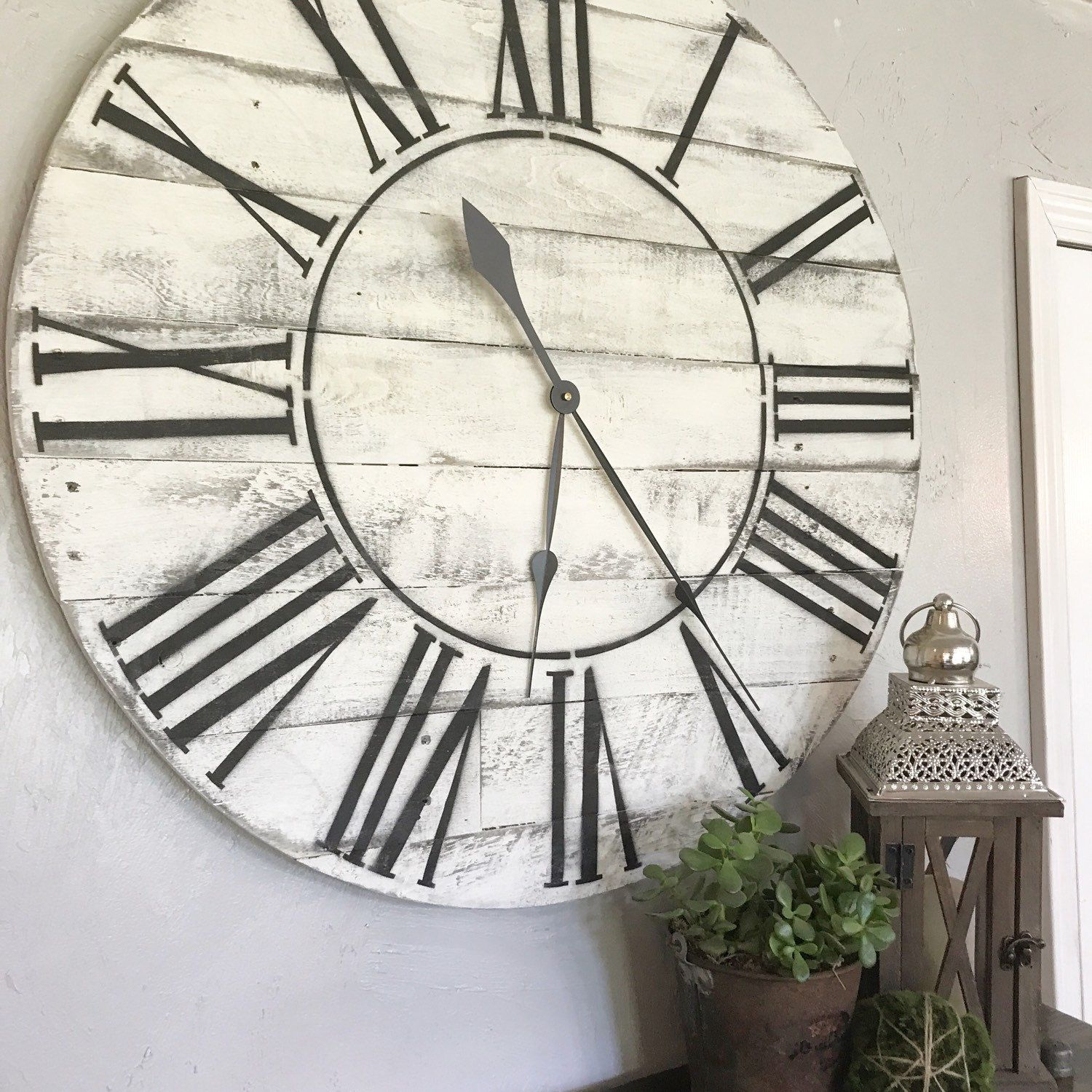 Whitewashed Roman numeral clock! Two Moose Design   Two Moose Design ...