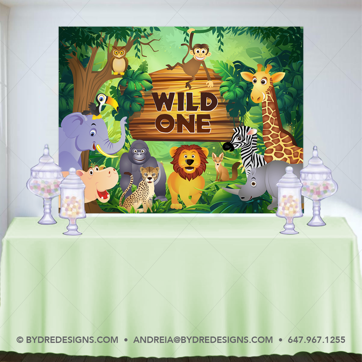 Safari Birthday Banner Backdrop Wild One Banner Birthday Jungle