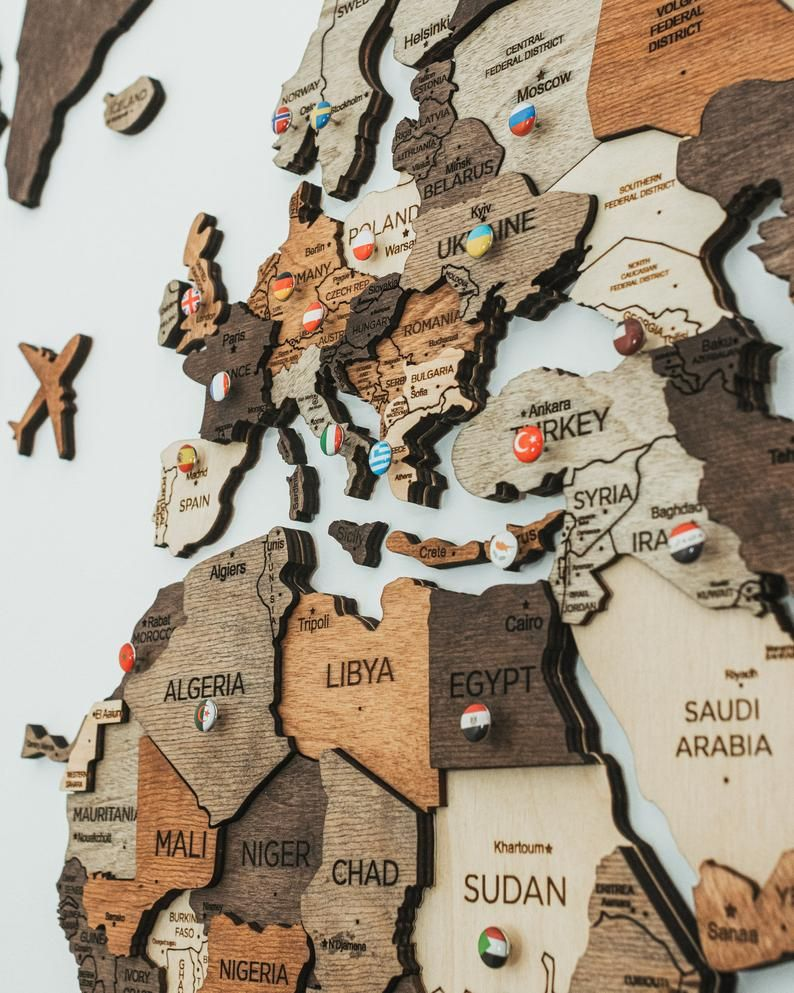 3D Wooden World Map by Enjoy The Wood 5th Anniversary Gift For Husband Family Gift Weltkarte Holz Engagement Gift 3D Printed Wood World Map
