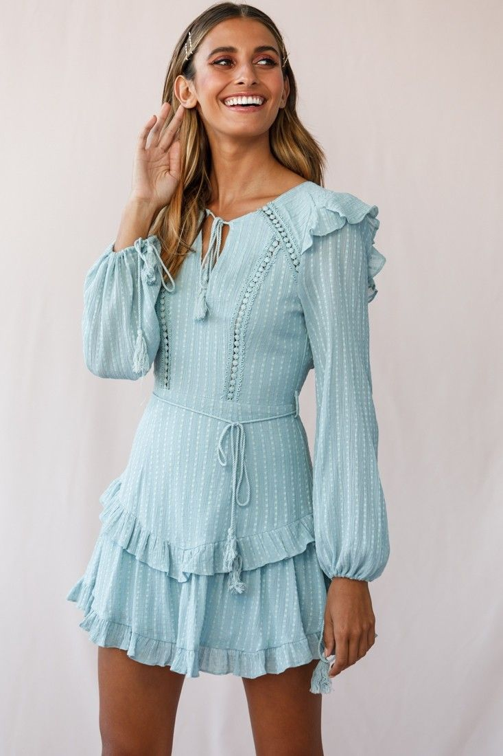 Photo of Yours Truly Bell Sleeve Ruffle Dress Sage