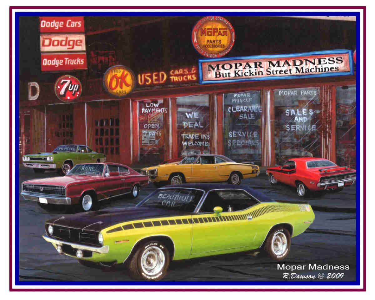 Muscle car art 5 handsigned print set MOPAR lover collection | Mopar ...