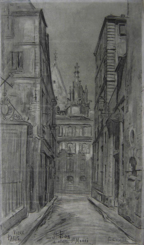 Combes Fernand - Charcoal - Vieux Paris, rue St Bon et cloître St Merri - ~56x33cm; date probablement de 1910.