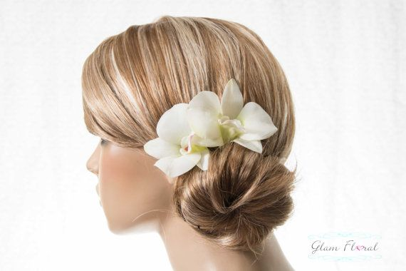 2 Orchid Bobby Pins Dendrobium Hair Clips In Ivory By Glamfloral Bridal Flower Hair Comb Bridal Hair Flower Clip Flower Hair Comb