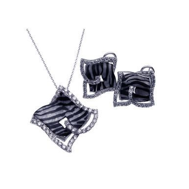 .925 Sterling Silver Zebra Stripe Print Square Clear Cubic Zirconia French Clip Earring & Necklace Set