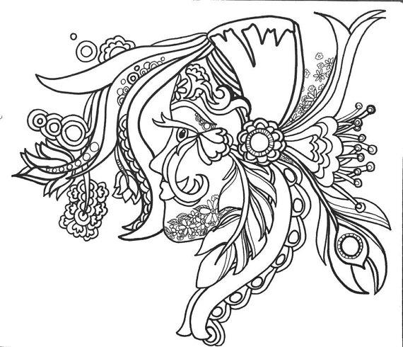 15 ColoringPages FunFancyFunkyFaces Vol.1 Original Art ...