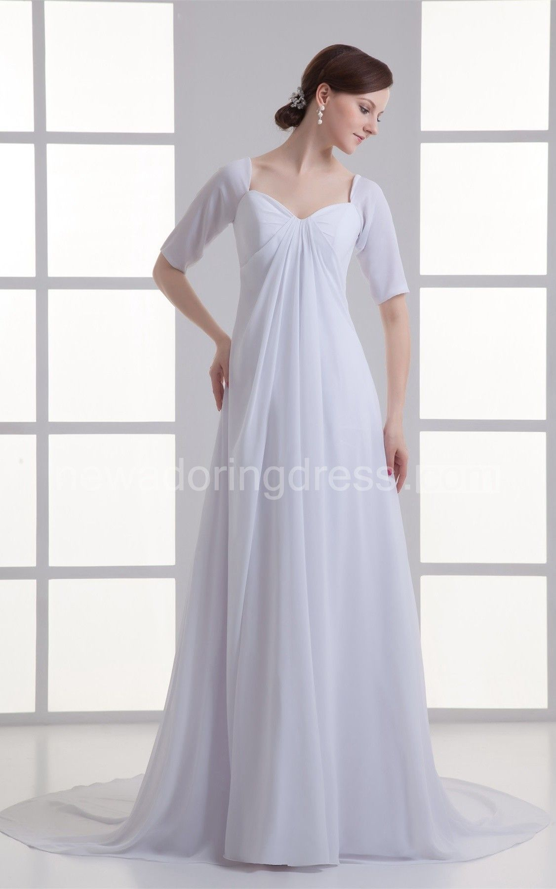 White maternity wedding dress  ShortSleeve Empire Chiffon Maxi Dress with Draping and Sweep Train