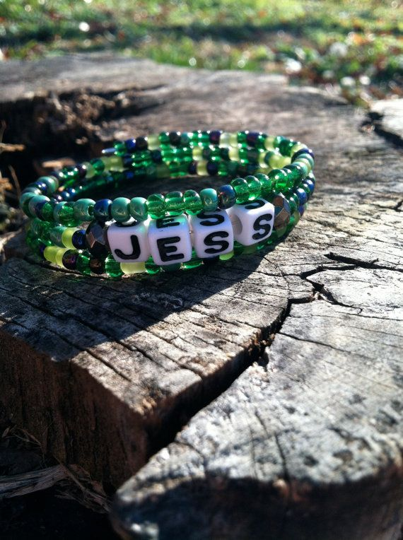 Green Personalized Beaded Name Bracelet on Etsy, $8.00