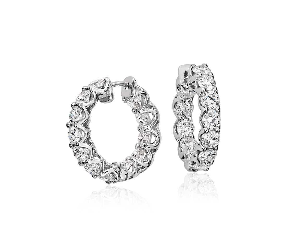 Diamond Eternity Hoop Earrings in 18k White Gold (3 ct. tw ...