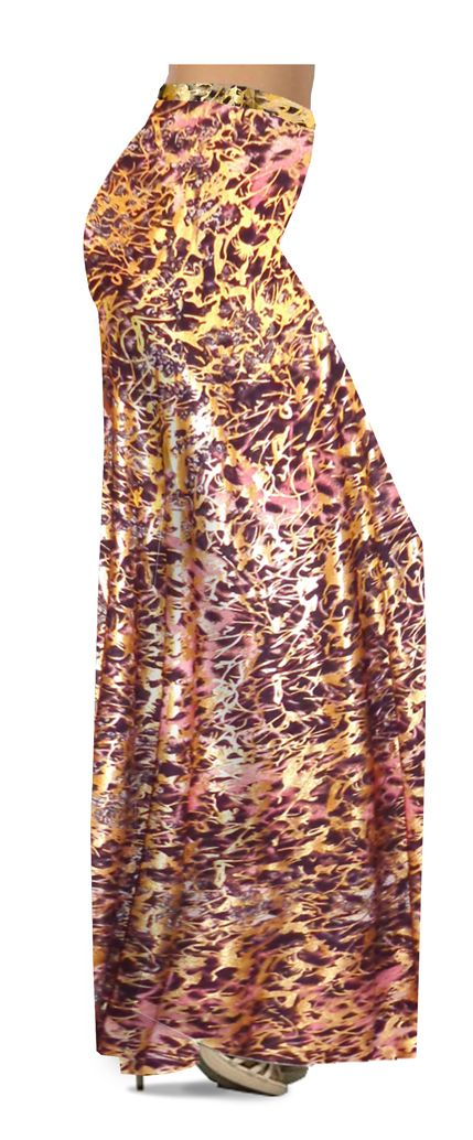 587c862f5cb CLEARANCE! Salmon Red Ornate With Gold Metallic Slinky Print Palazzo Pants!  4x
