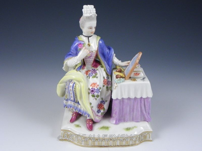 Antique Meissen Germany Figurine Woman Lady Sitting at Her Vanity Dresser Mint | eBay