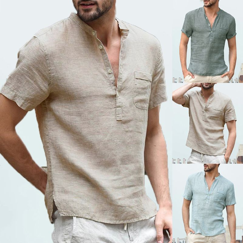 638dfce2e599 INCERUN Comfortable Casual Men Shirts Short Sleeve Henley Collar V Neck  Basic Color Button Loose Fit 3XL Camisa Masculina Summer