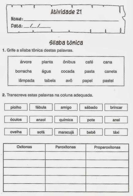 Atividades De Portugues Silabas Jpg 433 640 Atividade De Portugues