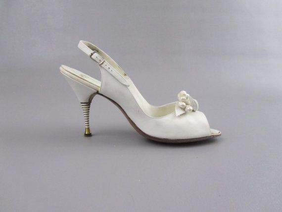 1950s Shoes 50s Wedding Shoes Peep Toe Polly Heels Size 8 Wedding Shoes Vintage Peep Toe Wedding Shoes Wedding Shoes