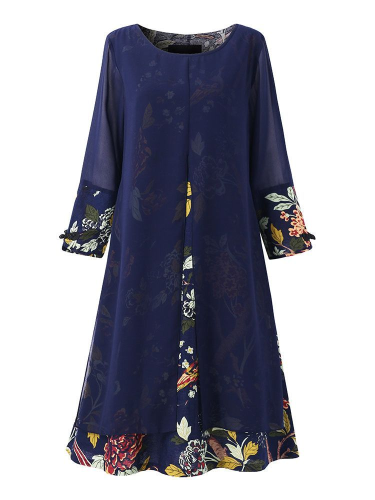 O-Newe Elegant Women Flower Printed Chiffon Patchwork Dress
