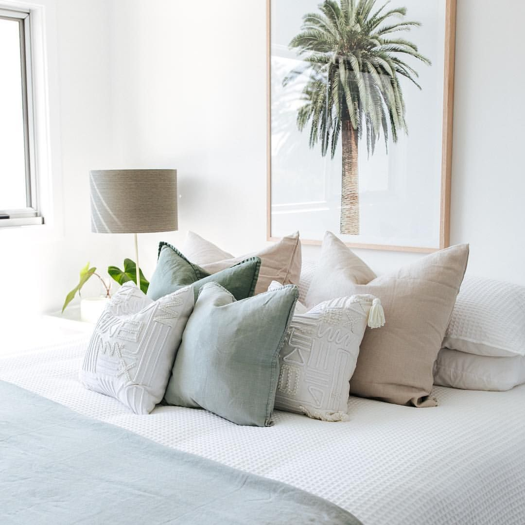 Inviting Is A Bed Of Squishy Cushions In Soothing Sagey Tones Wollongong Illawarra Southcoast Sutherlandshire Sydney House Styles Bed Australian Homes
