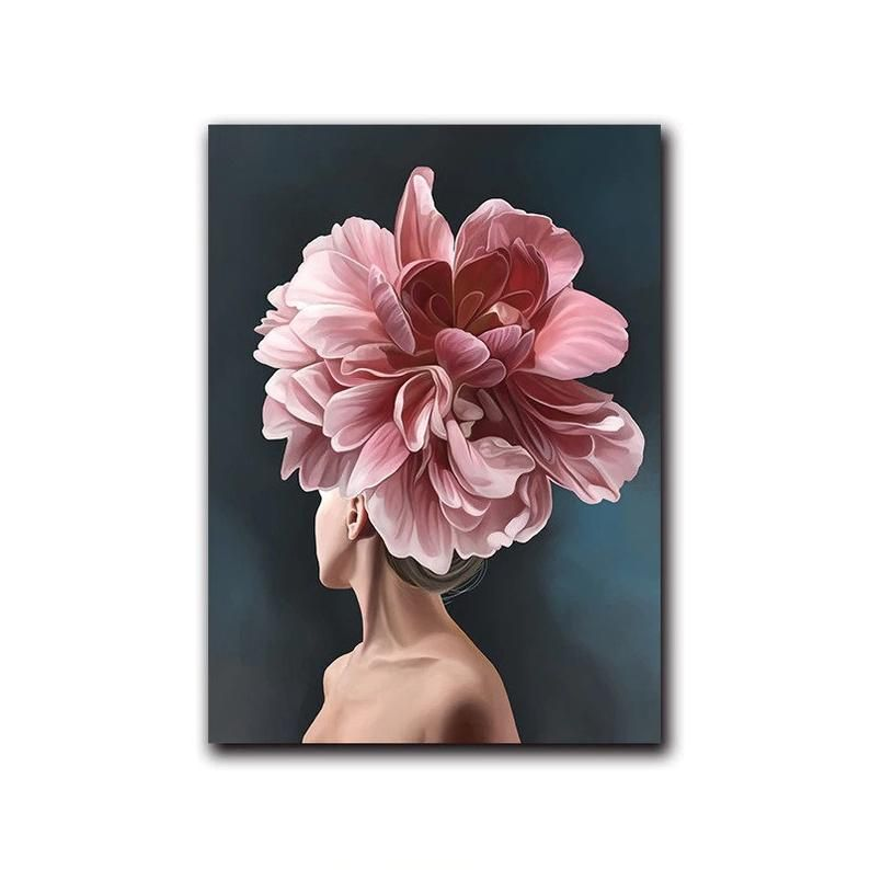 Pink White Flower Lady Poster Personality Fashion Abstract Etsy Art Canvas Art Painting White Flowers