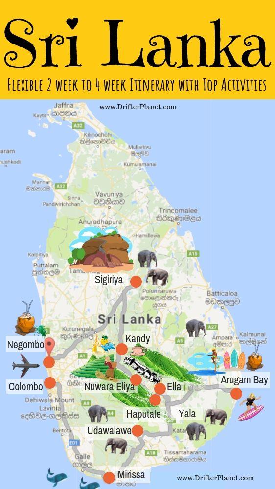 Travel map of Sri Lanka - route map and itinerary. Sri Lanka ...