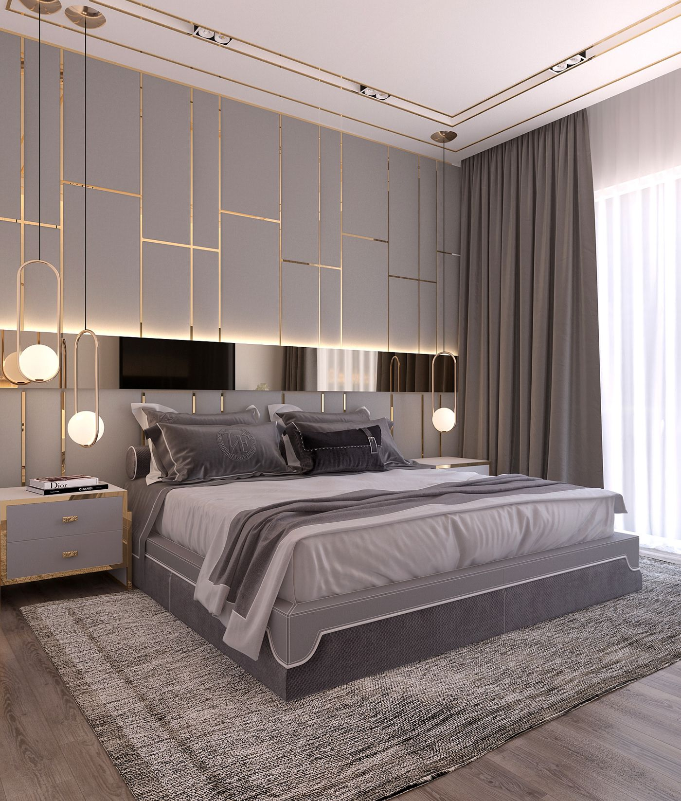 Design An Elegant Bedroom In 5 Easy Steps: Modern Style Bedroom *Dubai Project On Behance In 2019