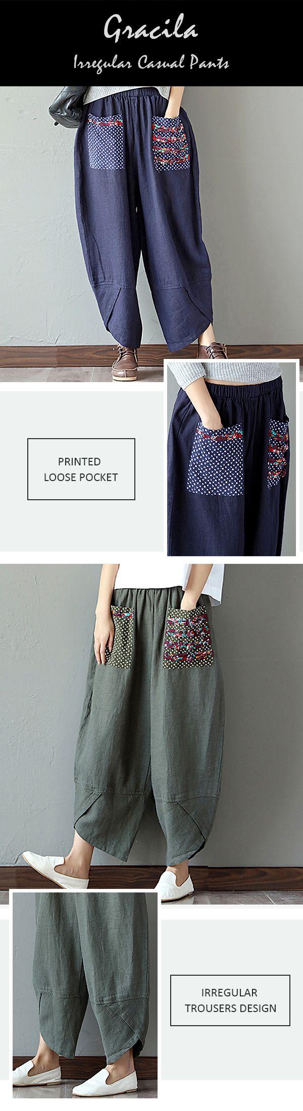US$ 28.23 Gracila Casual Print Patchwork Elastic Loose Irregular Pants For Women
