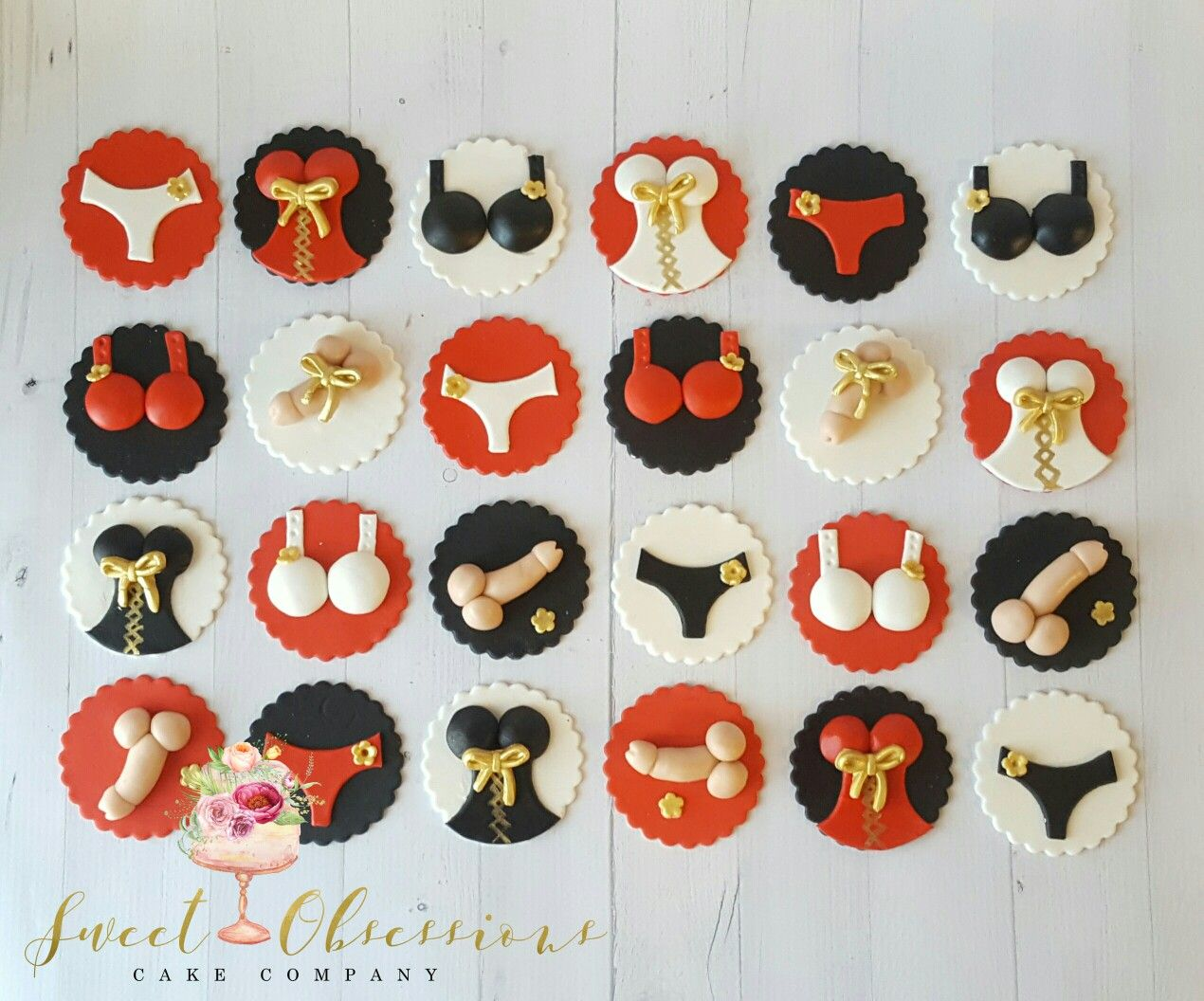 Bachelorette Cupcake Toppers Black Red White Gold Westminster Co Bachelorette Cupcakes Cake Co Sweet