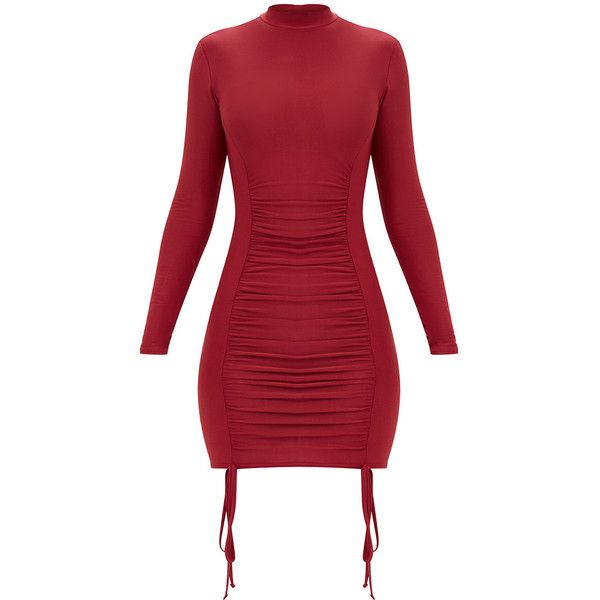 Burgundy Tie Detail Bodycon Dress ($35) ❤ liked on Polyvore featuring dresses, laced dress, bodycon dress, red lace up dress, red body con dress and lace up dress