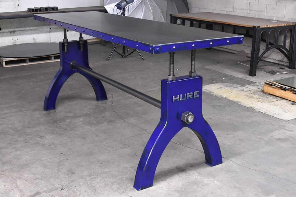 Blue Hure Bar Table With Steel Top And Riveted Edge By Vintage Industrial  Furniture