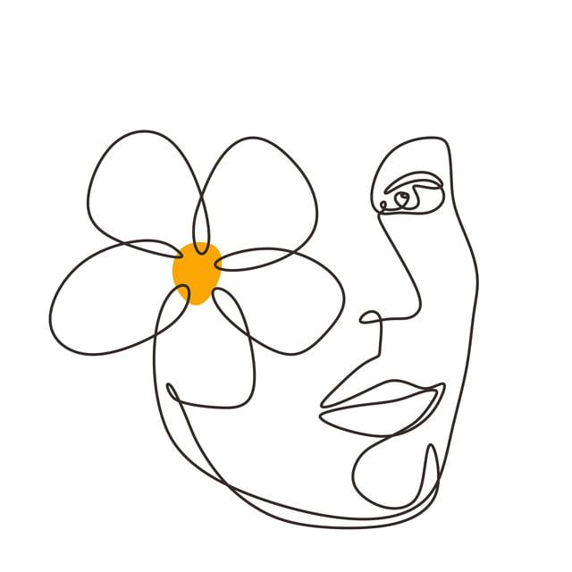 Woman Face With Plumeria Flower Art Continuous Abstract Hand Drawn Minimalism Line Drawing, Line, Art, Face PNG and Vector with Transparent Background for Free Download