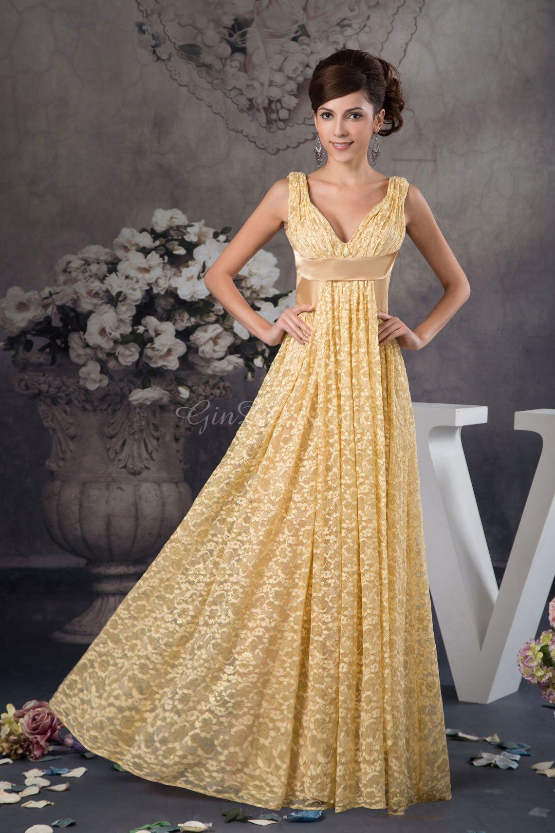 Zipper empire long aline gold lace evening dress gindress