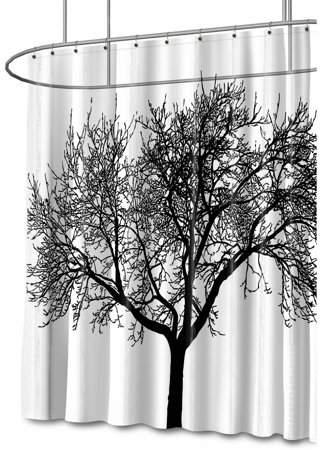 Splash Home Tree PEVA Shower Curtain, 72 X 70 , Black