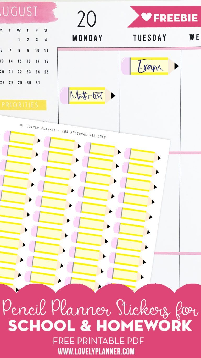free printable pencil school planner stickers | print it out