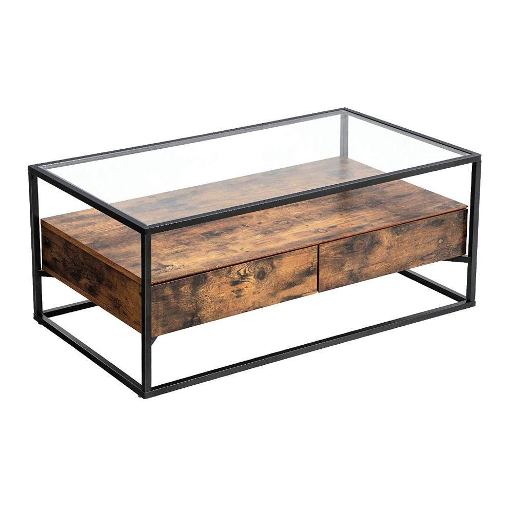 Benjara 17 7 In Brown And Black Iron Framed Coffee Table With Tempered Glass Top And Wooden Storage Bm195841 The Home Depot Iron Coffee Table Iron Frame Coffee Table Industrial Coffee Table [ 1000 x 1000 Pixel ]