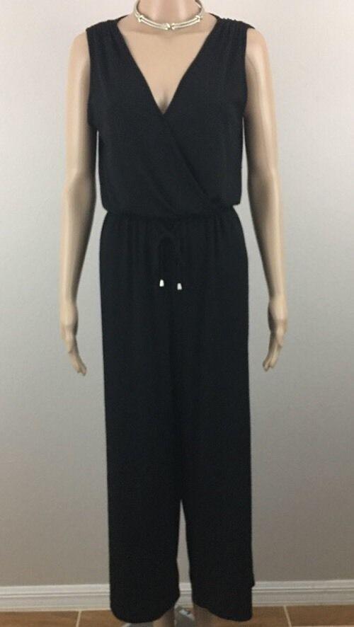 f7c66793b4d7 Spense Womens 10 Petite Jumpsuit Black Sleeveless V Neck Wide Leg  Spense   Jumpsuit
