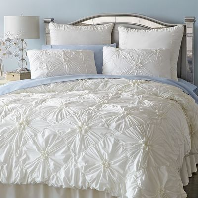 Our Ruched Ivory Bedding Gathers Crisp 100 Cotton In A Pattern Of Flowers On A Field Of Diamonds Inside Ties At A Ivory Duvet Cover Ivory Duvet Duvet Bedding