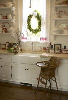 beautiful kitchen.  love the open shelves.