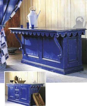 lovely old pieces used as kitchen islandloving this blue too