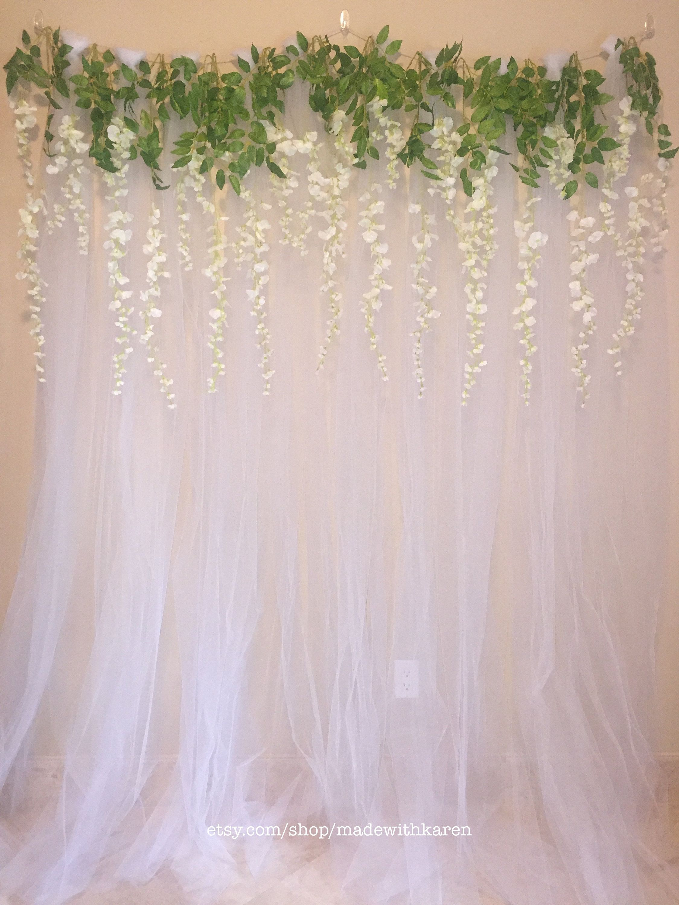 Tulle Backdrop Curtain Photo Booth With Hanging Wisteria Etsy