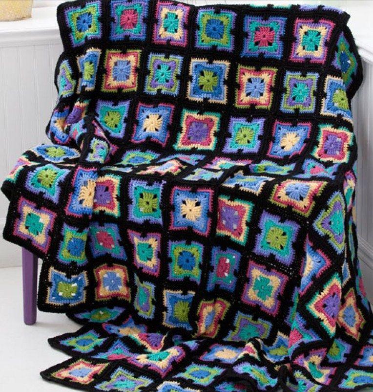Art Deco Kaleidoscope Crocheted Afghan Multi Colored With Black Border Cuadros A Crochet Frazadas Manta Crochet