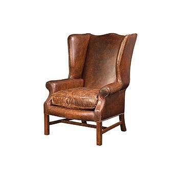 35 Quot Wide Winged Arm Chair Top Grain Distressed Leather