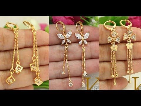 36d902d0b Gold For Jewelry Making. Top Beautiful Designer GOLD Drop EARRING 2018  Images WITH Weight   Daily Wear Gold Earring for Girls - YouTube