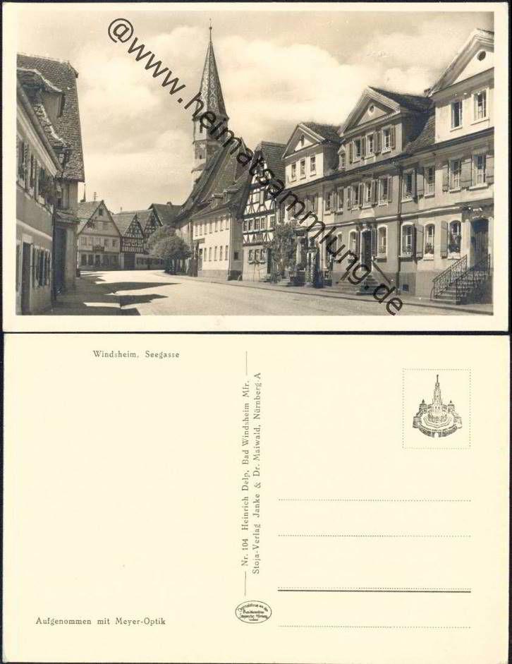 Bad Windsheim - Seegasse - Foto-AK 40er Jahre - Verlag Heinrich Delp Bad Windsheim (E4373y) ..