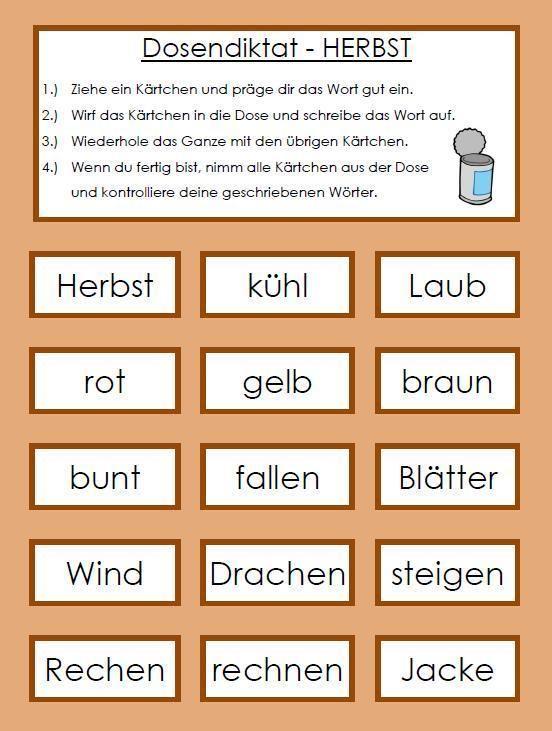 Dosendiktat - Herbst   Herbst   Pinterest   Schule, Deutsch und Klasse